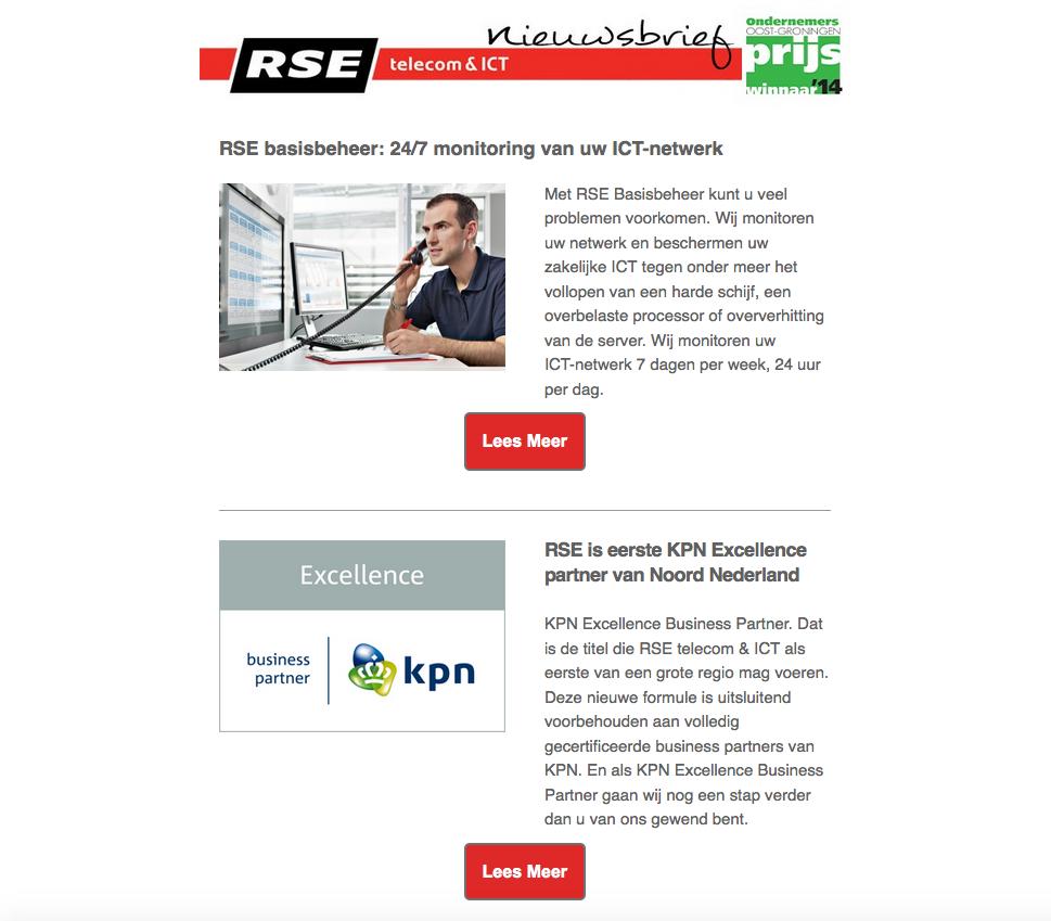 De nieuwsbrief van RSE telecom & ICT van september 2015 met artikelen over RSE basisbeheer, RSE als eerste KPN Excellence Partner van Noord-Nederland, het internationale topnetwerk van Vodafone en oplossingen voor de ICT-infrastructuur van Delftechniek.