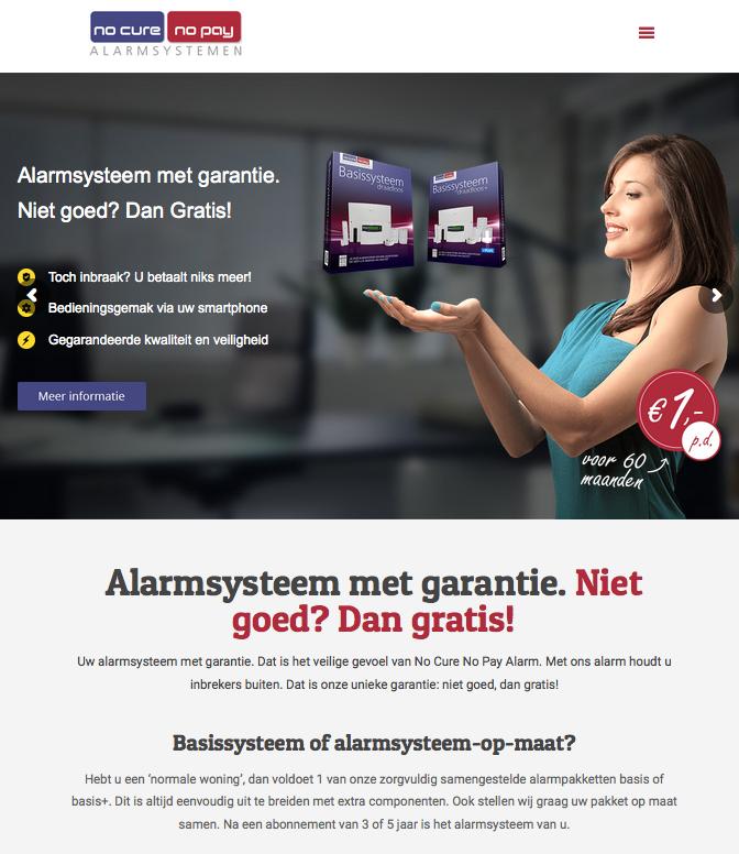 Ten Have Tekst verzorgde de SEO-copywriting voor de website van het gloednieuwe concept No Cure No Pay Alarm: Niet goed? Dan gratis