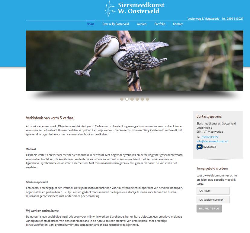 Lees op de website siersmeedkunst.nl onder meer het verhaal van siersmeedkunstenaar Willy Oosterveld en beschrijvingen van zijn werken. De teksten op deze site zijn geschreven door Ten Have Tekst.