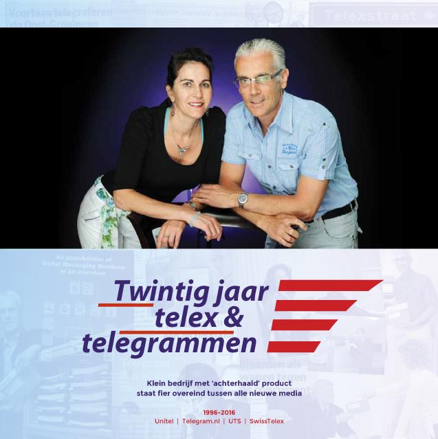 Telegram.nl en Unitel brachten een jubileumboek uit ter gelegenheid van twintig jaar telelex en telegrammen. Ten Have Tekst verzorgde het manuscript, grafisch vormgever Menno Schreuder het design