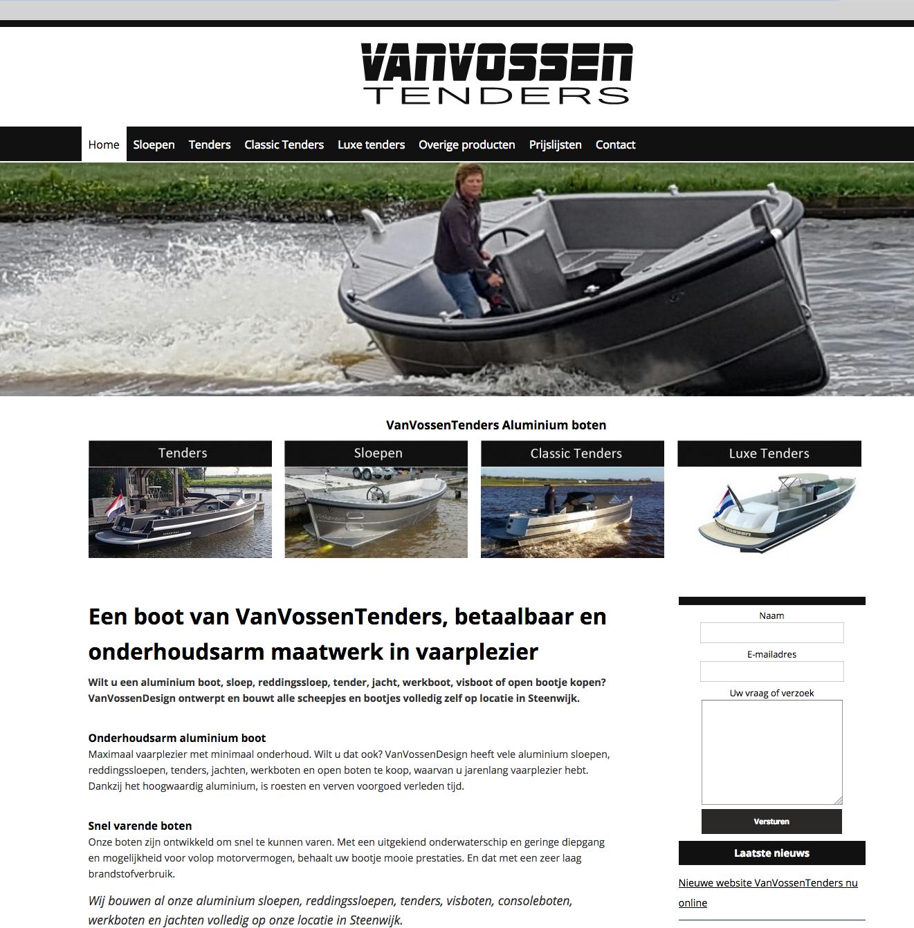 Ten Have Tekst verzorgde het webteksten schrijven voor de nieuwe website van Van Vossen Tenders in Steenwijk..