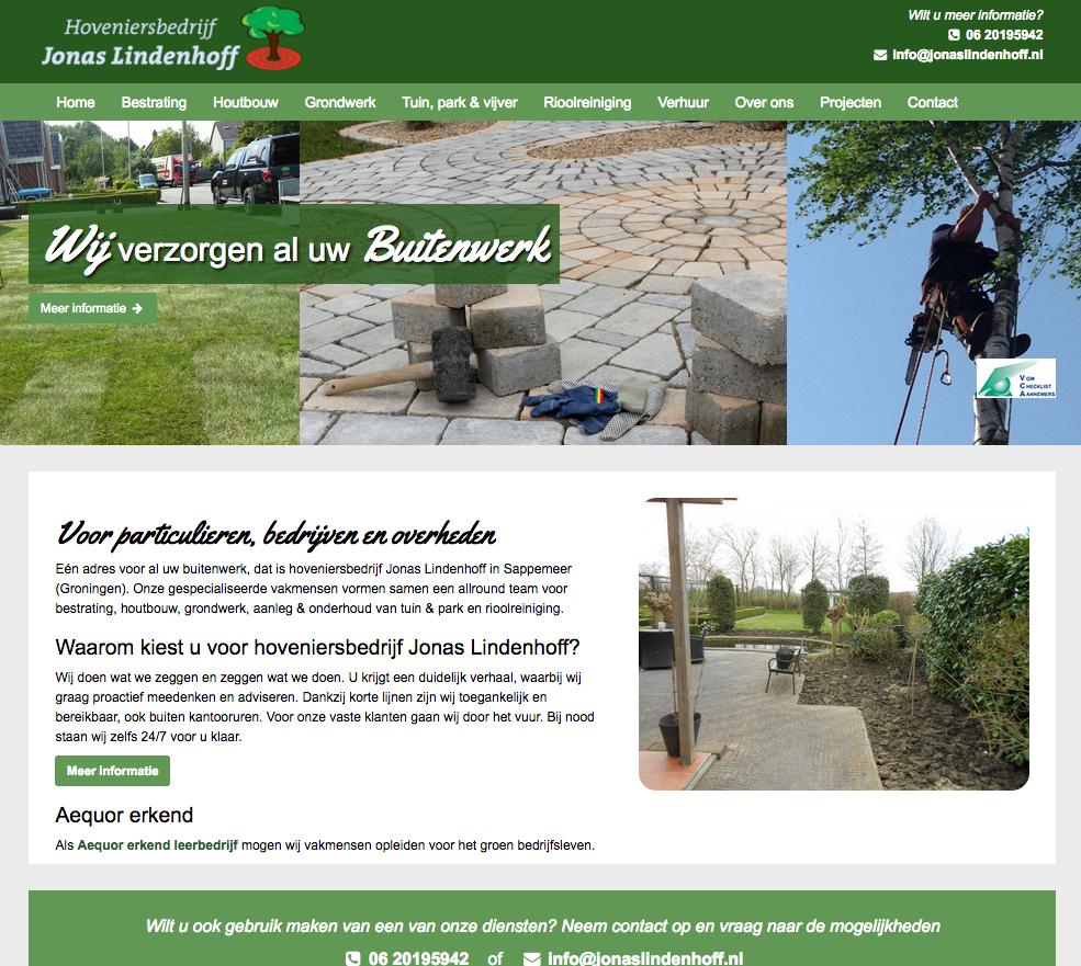 Ten Have Tekst schreef de SEO teksten voor de nieuwe website van hovenier, houtbouw- en bestratingsbedrijf Jonas Lindenhoff in Sappemeer.