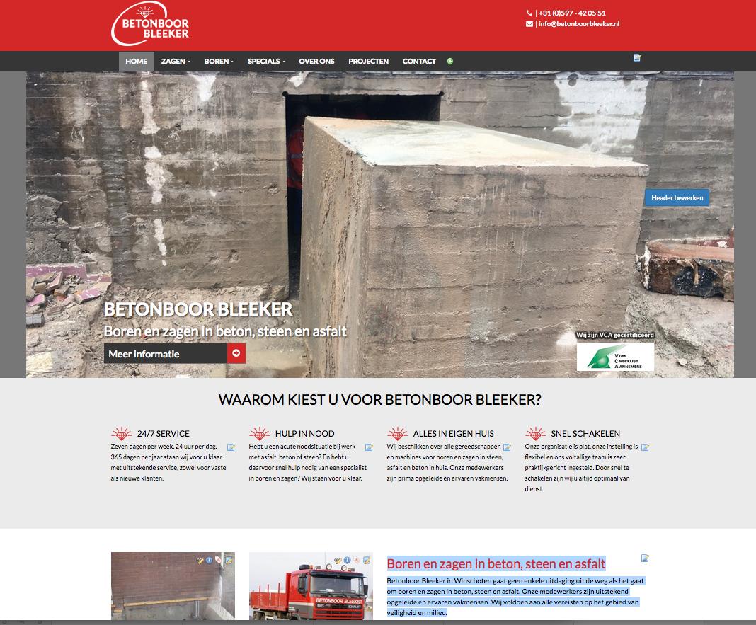 Het SEO webteksten schrijven voor de gloednieuwe website van Betonboor Bleeker in Winschoten gebeurde door Ten Have Tekst.