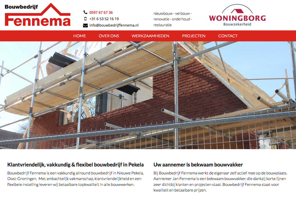 De homepage van de gloednieuwe website van bouwbedrijf Fennema in Nieuwe Pekela: een responsive website, basic en overzichtelijk.