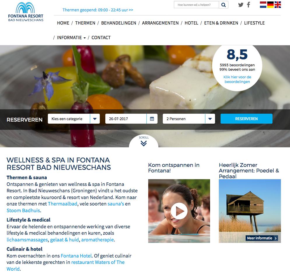 Ten Have Tekst verzorgde het redactie, herschrijven en verdere SEO-optimalisatie van de webteksten voor de vele tientallen pagina's tellende website van Fontana Resort Bad Nieuweschans.