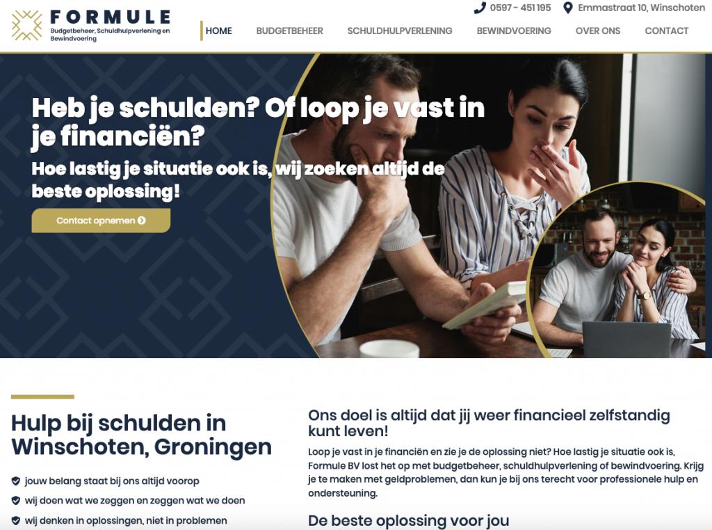Homepage van de website van Formule BV, de nieuwe Oost-Groninger specialist in budgetbeheer, schuldhulpverlening en bewindvoering. Ten Have Tekst schreef de teksten voor deze site.