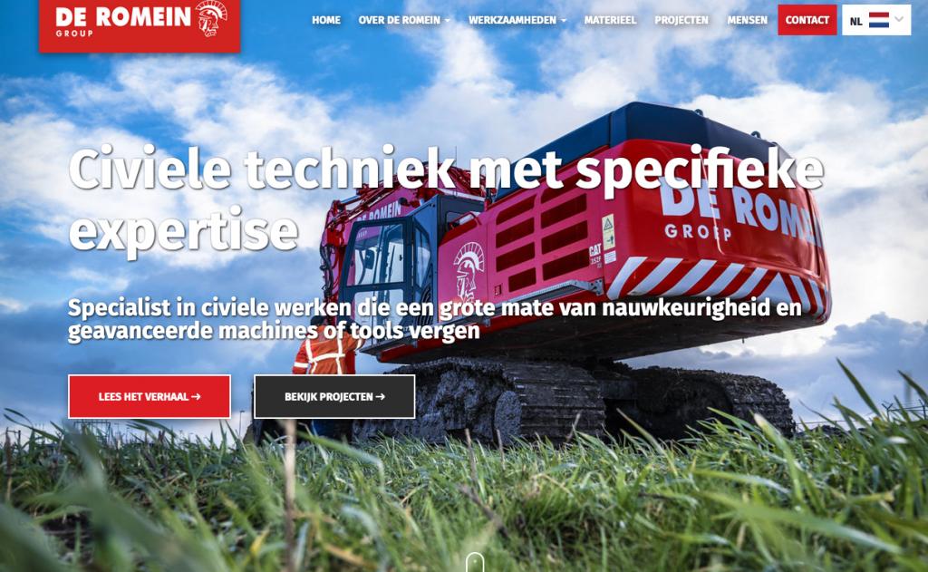 Impressie van de nieuwe website van De Romein, waarvoor Ten have Tekst de teksten schreef.