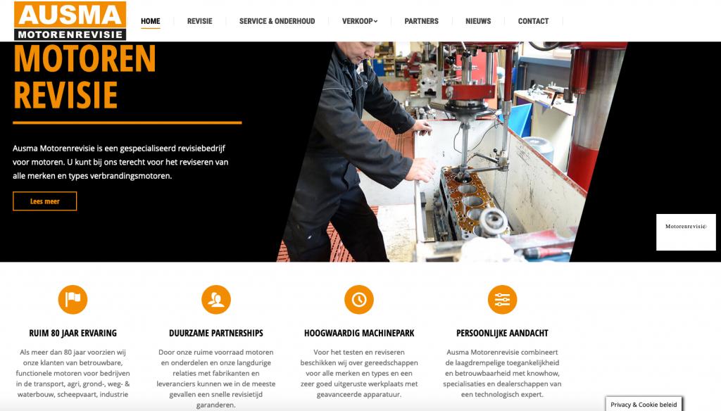 De homepage van de nieuwe website van Ausma Motorenrevisie in Roden (Drenthe) waarvoor Ten Have Tekst de teksten schreef.
