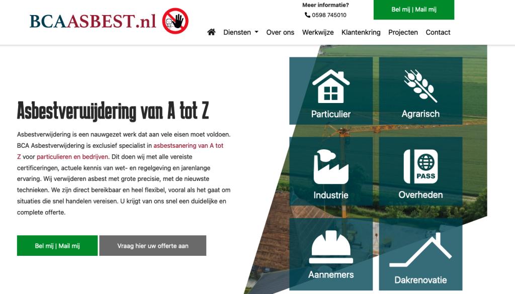 De homepage van de website van BCA Asbestverwijdering waarvoor Ten Have Tekst de SEO-webteksten schreef.