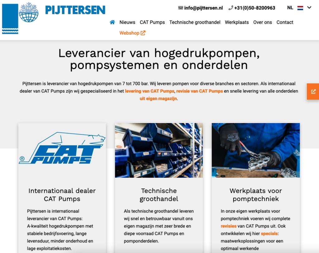 Homepage van de nieuwe website van Pijttersen, distributeur van CAT Pumps waarvoor Ten Have Tekst de SEO-teksten schreef