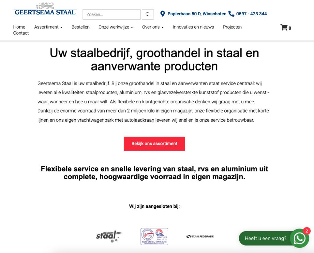 Homepage van de website van Geertsema Staal, waarvoor Ten Have Tekst de unieke webteksten schreef in opdracht van NC-websites.