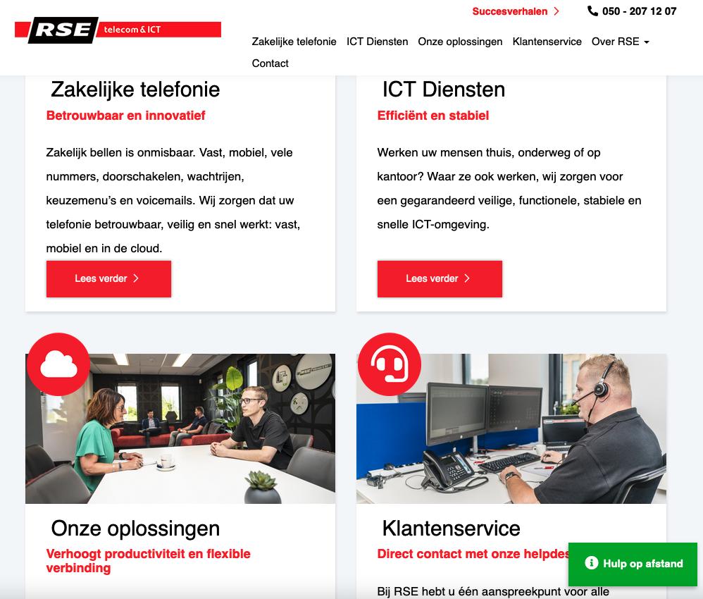 De homepage van de website van RSE telecom & ICT die bij de laatste uitgebreide upgradeook is voorzien van gloednieuwe webteksten.